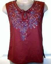 BURGUNDY EMBROIDERED COTTON TUNIC HIPPIE BOHO CAMISOLE VEST TOP SZ 8/10  # H213