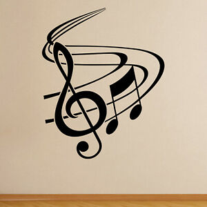 Treble Clef with Swish Musical Wall Sticker Decal Transfer Music Matt Vinyl UK