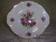 Royal Court England Porcelain Cookie Dish with beautiful pink roses w/Gold Trim.