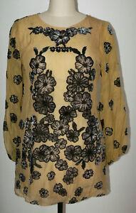 Women's For Love & Lemons Sierra Mini Dress Mustard Large Chiffon Velvet Burnout
