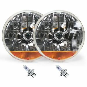 "Street Hot Rat Rod 7"" Tri Bar Blue Dot H4 Headlights PAIR Amber Turn Signals 12v"