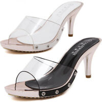 On Open Peep Toe Sandals Shoes  Womens High Heel Clear Mules Slides Shoes Slip
