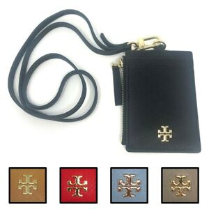 Tory Burch Women's Emerson Saffiano Leather Lanyard ID Badge w Card & Coin Slots
