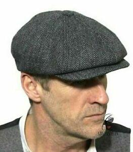 Grey Herringbone Newsboy Cap Baker Boy Gatsby Men's Peaky Blinders Wool 57cm