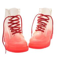 Clear Jelly Gumboots Dr. Martens Style Retro Colorful Ankle Rain Boots Womens