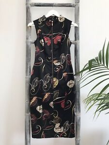 Cue Satin Printed Pencil Dress with Rose Gold Zip - Size 6