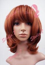 W106 Auburn Mix Full Wig Medium Length Curl Natural Look Skin Top - studio7-uk