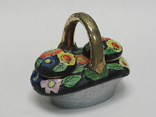 RARE ANTIQUE 1920s HOTTA YU SHOTEN & Co FLORAL BASKET SALT & PEPPER SHAKERS