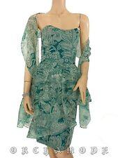 Robe Bustier GUY LAROCHE voile 100% Soie T 36 S 1 Etole Veste vert Dress Silk