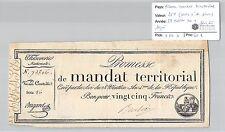 MANDAT TERRITORIAL - 25 FRANCS (AVEC LE N° DE SERIE) 28 VENTOSE AN 4 - 78866