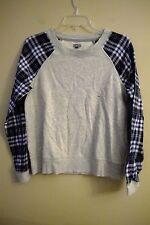 NWT AERIE Misses Flannel Sleep Top MEDIUM Pullover Blue/Gray Fleece #840273