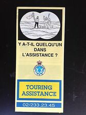 Dépliant Tintin Touring assistance  ETAT NEUF