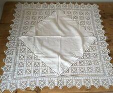 """VINTAGE LINO COTONE HAND Crochet Lace angolo TOVAGLIA QUADRATO 32"""""""