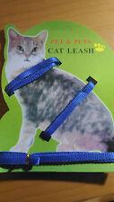 Arnes para gato correa gatos pasear nylon color azul