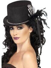 Señoras NEGRAS De Sombrero De Copa Con Esqueleto Mano Plumas Y Cintas De Disfraces De Halloween