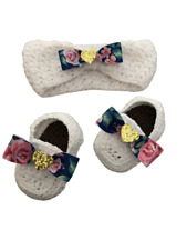 Navy blue and Pink Floral Rose Crochet Baby Loafers Shoes Optional Headband