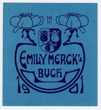 Ex libris bookplate * H.J. merck * jugendtsil emblema rosas Crest Art Nouveau