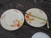 2X CROWN DEVON ART DECO SIDE PLATES  GOOD CONDITION