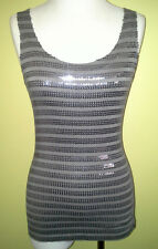 Ladies Sleeveless Tank Top Singlet Sequin Striped Club Party Just Jeans SizeS 10