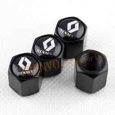 4PCS Kit Black Metal Car Wheel Tyre Tire Valve Stem Caps Accessories For Renault
