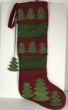 Christmas Stocking by Itr Extra Large Navy Burgundy Tree Fireplace Mantle Decor.