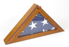 Military funeral flag in case wood glass Us Veteran display shadow box burial