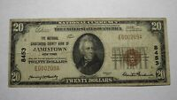 $20 1929 Jamestown New York NY National Currency Bank Note Bill Ch. #8453 Fine