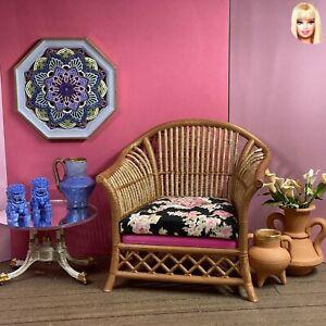 1:6 Dollhouse miniature cane rattan armchair Pink & Floral Black - Barbie scale