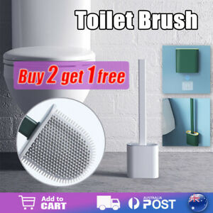 Bathroom Silicone Bristles Toilet Brush with Holder Creative Cleaning Brush Set