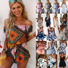 UK Womens Holiday Mini Playsuit Ladies Summer Beach Shorts Jumpsuit Dress 6 - 18