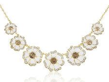 Contemporary Gold Rhinestone Accented Flower Fashion Necklace Pendant Jewel Gift