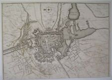 1744 MAP PLAN DES ATTAQUES D'YPRES FRENCH ATTACK YPRES FORTRESS CITY FLANDERS