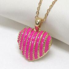G9 Puffy Heart Love Striped Pink NECKLACE Epoxy Enamel Gold Plated NEW