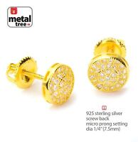 Men's 925 Silver in 14K Gold Plated Pave Round Screw Back Stud Earrings 452 G