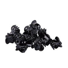 10 Small Plastic Black Hair Clips Claws Clamps