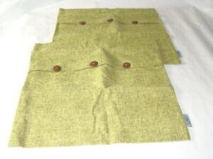 """2 Decorative Green Linen Throw Pillow Covers w/Buttons Zippered 18"""" x 18"""""""