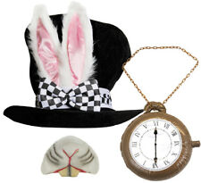 WHITE RABBIT TOP HAT BUNNY EARS NOSE AND CLOCK FANCY DRESS COSTUME OUTFIT