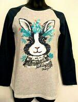 Justice Girls Sizes 6 8 10 Easter Bunny Long Sleeve Raglan T-Shirt