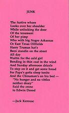 """JACK KEROUAC """"JUNK"""" POETRY POSTCARD PINK 1976 PUBLISHED BY UNSPEAKABLE VISIONS"""