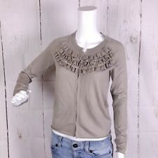 Banana Republic Womens sz XS Grey 100% Merino Wool Cardigan Sweater Ruffle Neck