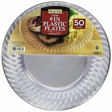fancy plastic plates for parties wedding clear buffet dinner 50 pk 9 inch new