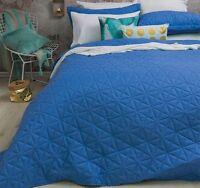 3 Pce Regent Blue Diamond Embossed QUEEN / KING Coverlet Bedspread Blanket Set