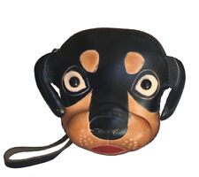 Leather Wristlet Coin/change Purse,Jewelry Holder,Dog(Rottweiler) Face pattern,