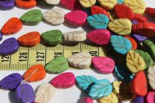 """13x9x4 Natural Howlite Dyed Leaves Mixed Color's Stone Beads 16"""" Strand/28pc"""