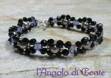 Idea regalo BRACCIALE donna artigianale cristalli Swarovski viola nero - cm 18