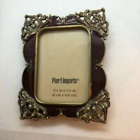 Pier One Imports Photo Frame Maroon Red Enamel w Seed Pearl Accent 2.5 x 3.5""