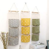 JN_ 3 Pockets Wall Door Closet Home Hanging Storage Bag Linen Organizer Pouch