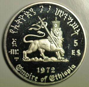 mw17517 Ethiopia; Silver Crown 5 Dollars 1972-HF Haile Selassie KM#52 PROOF
