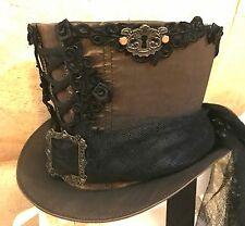 Steampunk Lace& Keyholes Top Hat With Net Black Train & Roses In Size 58cm