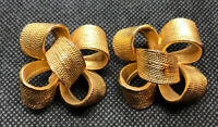 "Vintage Textured Gold Tone Statement Large Bow Costume Clip Earrings 1.5""x1.25"""